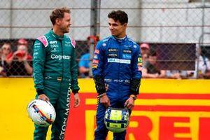 Sebastian Vettel, Aston Martin, and Lando Norris, McLaren
