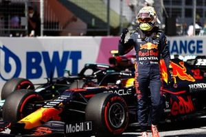 Pole man Max Verstappen, Red Bull Racing, celebrates in Parc Ferme