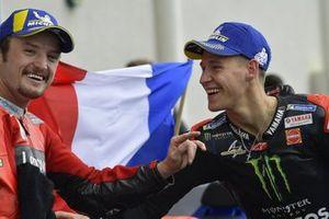 Ganador de la carrera Jack Miller, Ducati, tercer puesto Fabio Quartararo, Yamaha Factory Racing