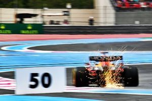 Sparks fly from Max Verstappen, Red Bull Racing RB16B