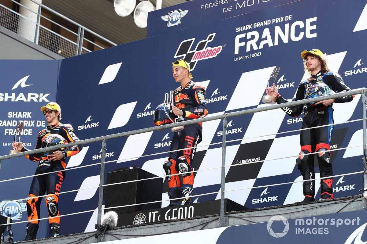 Podio: Raul Fernandez, Red Bull KTM Ajo, Remy Gardner, Red Bull KTM Ajo Marco Bezzecchi, Sky Racing Team VR46
