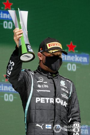 Valtteri Bottas, Mercedes, 3rd position, with his trophy on the podium