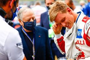 Jean Todt, President, FIA, andMick Schumacher, Haas F1 , on the grid