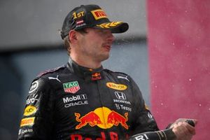 Max Verstappen, Red Bull Racing , 1st position, sprays the victory Champagne