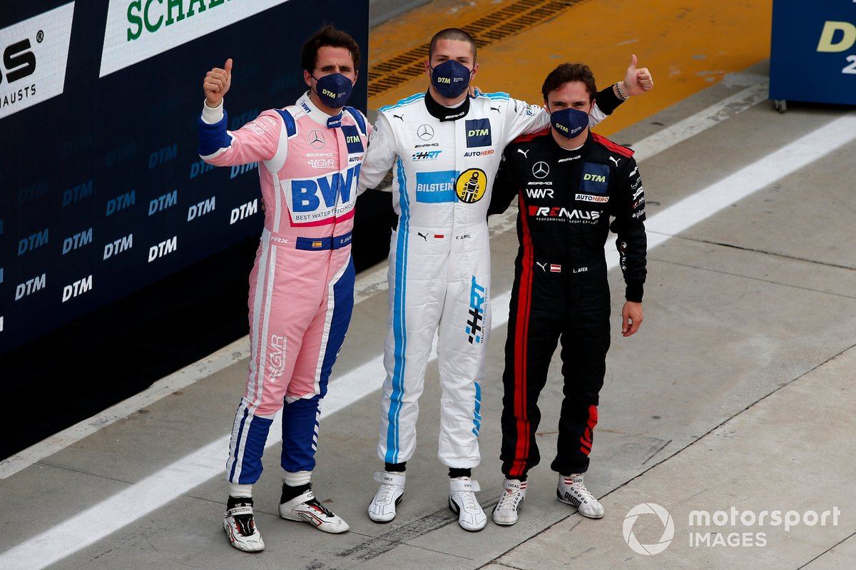 Top 3 dopo le qualifiche: Pole sitter Vincent Abril, Haupt Racing Team, secondo posto Daniel Juncadella, Mercedes-AMG Team GruppeM Racing, terzo posto Lucas Auer, Mercedes AMG Team Winward