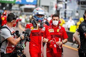 Pole man Charles Leclerc, Ferrari, in the pit lane