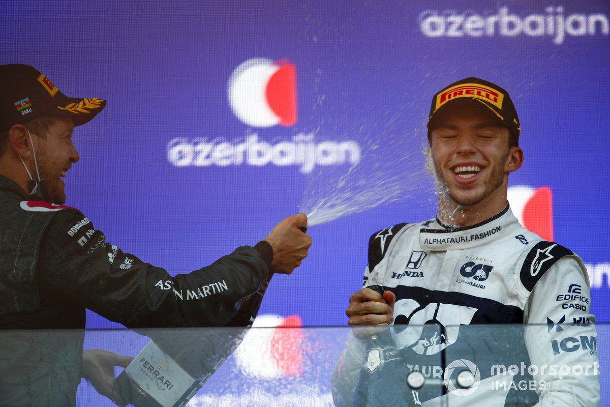 Podium: second place Sebastian Vettel, Aston Martin, third place Pierre Gasly, AlphaTauri