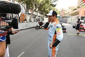 Lando Norris, McLaren, 3rd position, is interviewed after the race