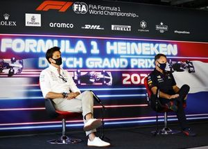 Toto Wolff, Team Principal and CEO, Mercedes AMG, and Christian Horner, Team Principal, Red Bull Racing, in the team principals Press Conference