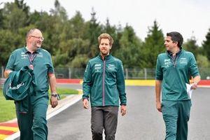 Sebastian Vettel, Aston Martin, walks the track with colleagues
