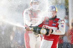 #1: Paul Miller Racing Lamborghini Huracan GT3, GTD: Madison Snow, Bryan Sellers, winner, podium, champagne, #16: Wright Motorsports Porsche 911 GT3R, GTD: Patrick Long, Trent Hindman