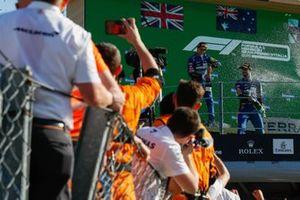 Lando Norris, McLaren, 2nd position, and Daniel Ricciardo, McLaren, 1st position, celebrate with Champagne