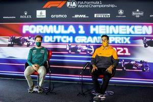 Sebastian Vettel, Aston Martin e Daniel Ricciardo, McLaren in conferenza stampa