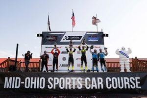 #74 Riley Motorsports Mercedes-AMG GT3, GTD: Lawson Aschenbach, Gar Robinson, #14 AIM Vasser Sullivan Lexus RC-F GT3, GTD: Jack Hawksworth, Aaron Telitz, #16 Wright Motorsports Porsche 911 GT3 R, GTD: Ryan Hardwick, Patrick Long, podium