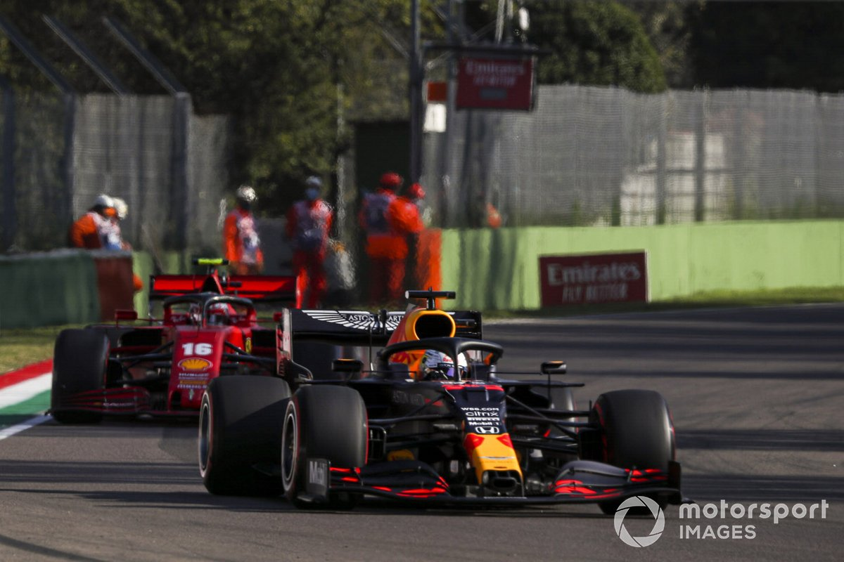 Max Verstappen, Red Bull Racing RB16, Charles Leclerc, Ferrari SF1000