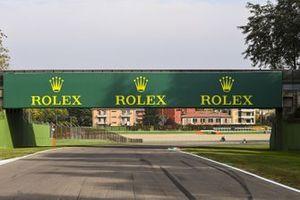Rolex branding on a bridge over the track
