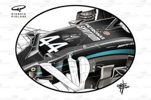 Mercedes AMG F1 W11, dettaglio delle alette