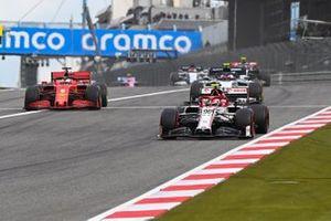 Antonio Giovinazzi, Alfa Romeo Racing C39, Sebastian Vettel, Ferrari SF1000, and Pierre Gasly, AlphaTauri AT01