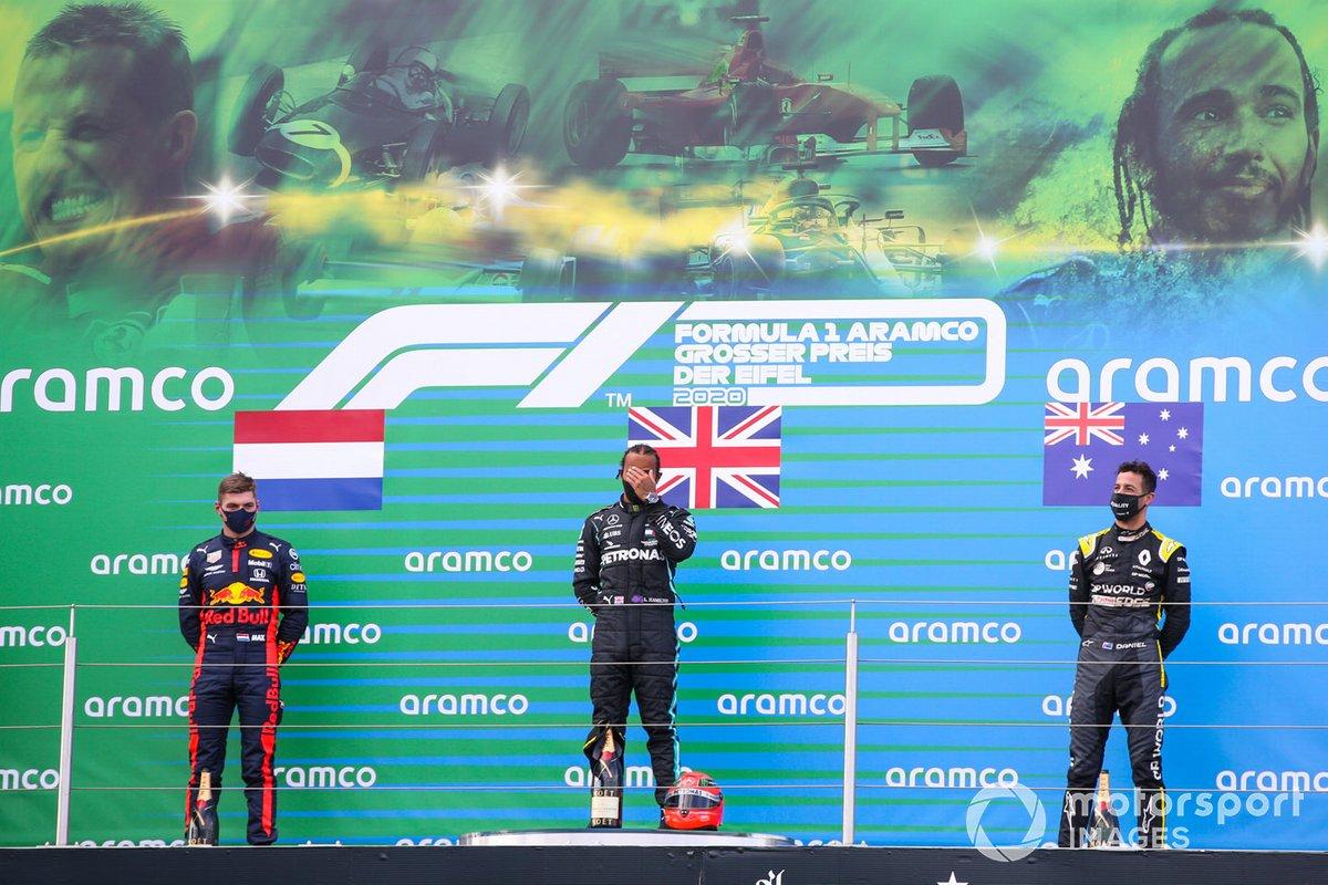 Eifel - Podium : Lewis Hamilton, Max Verstappen, Daniel Ricciardo