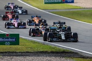 Lewis Hamilton, Mercedes F1 W11, Max Verstappen, Red Bull Racing RB16, Daniel Ricciardo, Renault F1 Team R.S.20, Sergio Perez, Racing Point RP20, and Carlos Sainz Jr., McLaren MCL35
