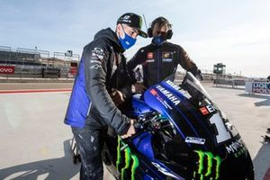 Maverick Vinales, Yamaha Factory Racing warming up his bike