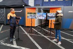 Andreas Seidl, Team Principal, McLaren speaks to the media