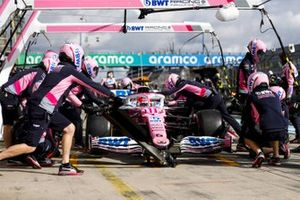 Sergio Perez, Racing Point RP20, makes a stop during practice