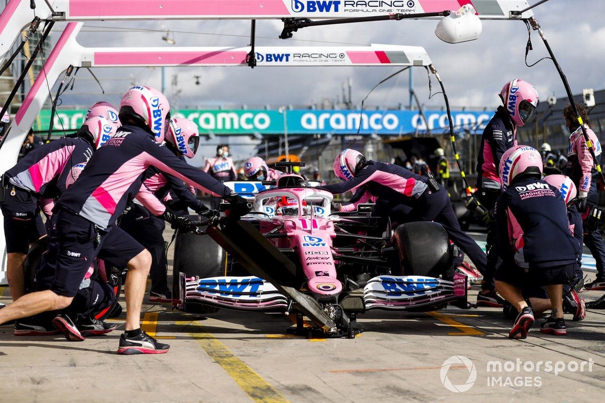 Prova di pit stop per Sergio Perez, Racing Point RP20