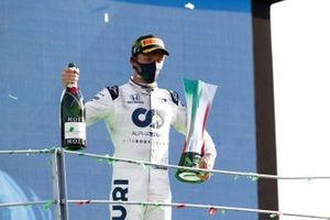 Pierre Gasly, AlphaTauri, 1st position, on the podium with his trophy and Champagne