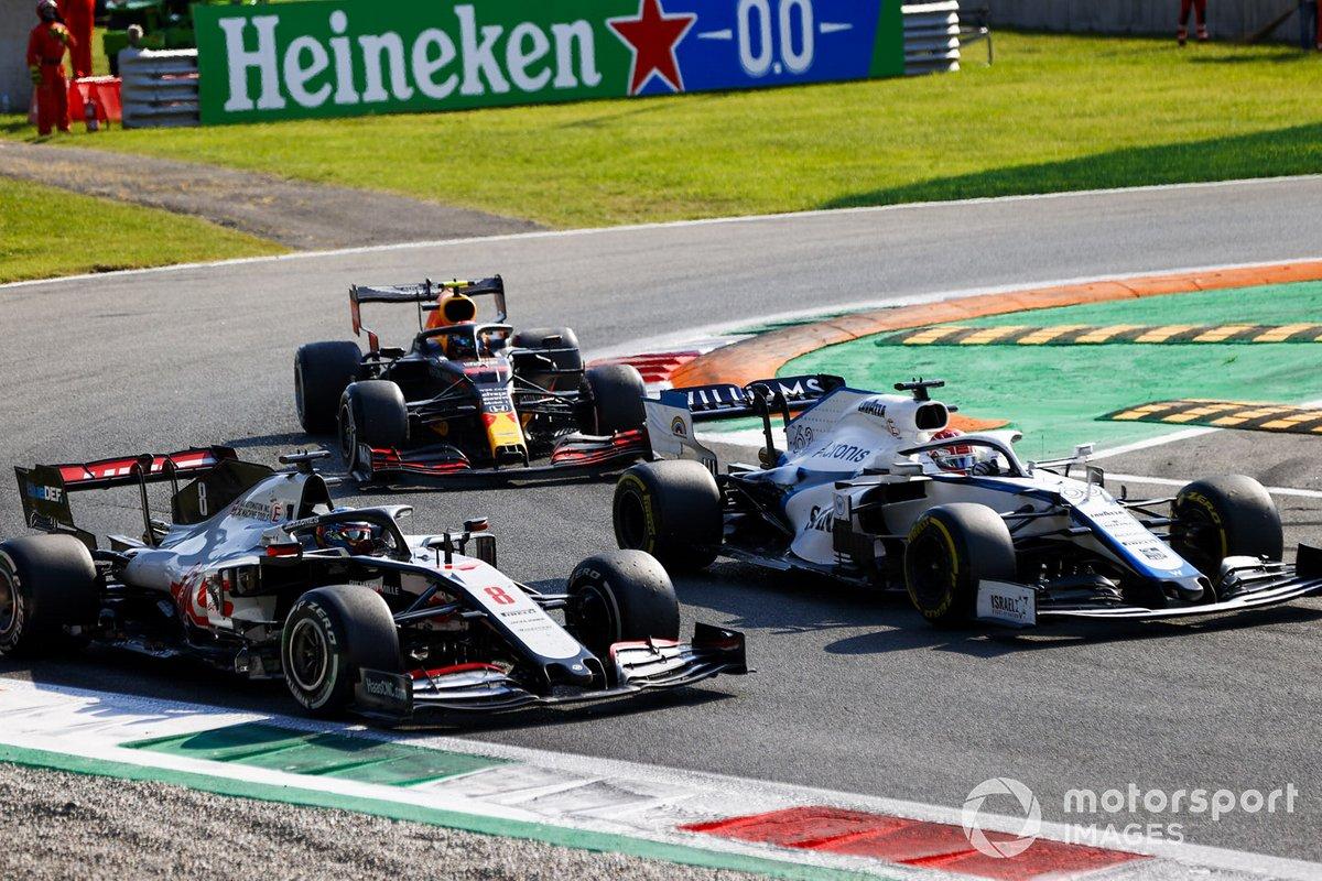 George Russell, Williams FW43, Romain Grosjean, Haas VF-20, Alex Albon, Red Bull Racing RB16