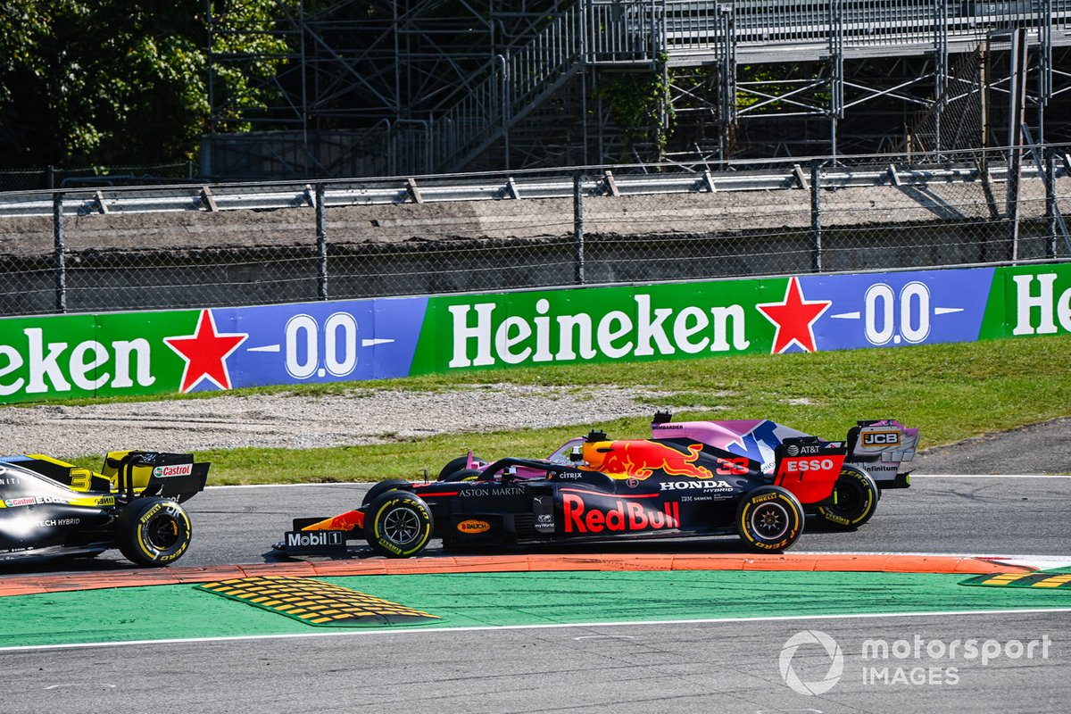 Max Verstappen, Red Bull Racing RB16, battles with Sergio Perez, Racing Point RP20