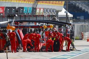 Sebastian Vettel, Ferrari SF1000, in the pits during practice