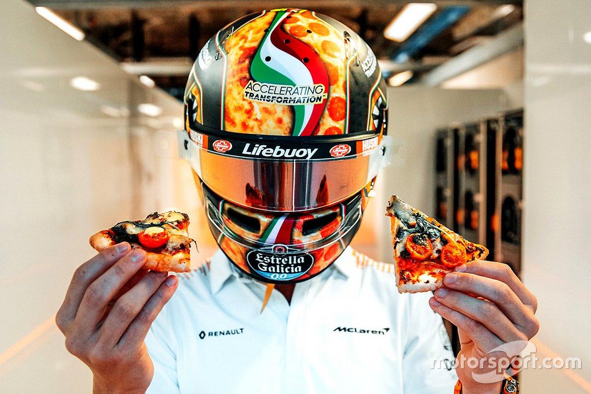 El casco de Lando Norris, McLaren, para el GP de Italia 2020