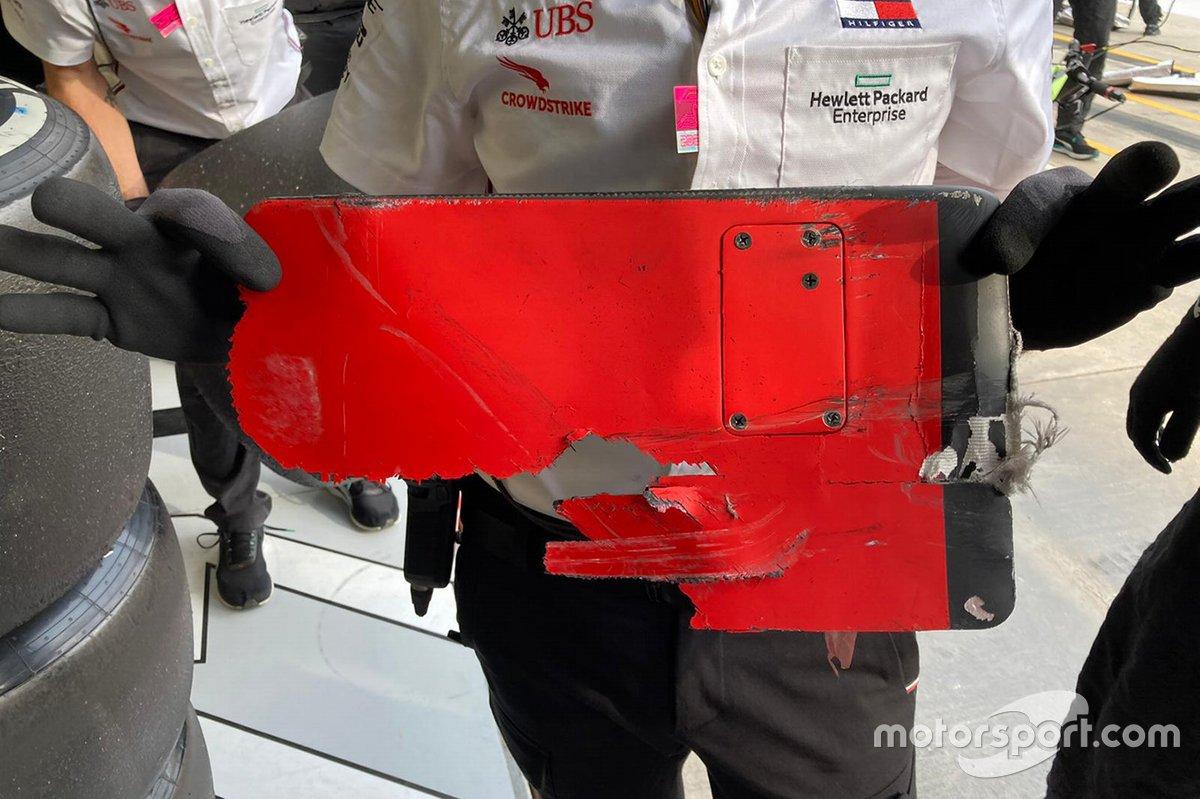 Parte de un monoplaza en el coche de Valtteri Bottas, Mercedes F1 W11