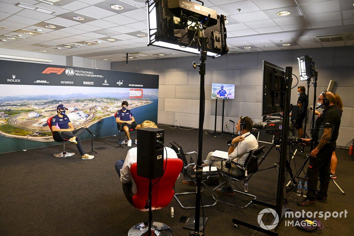 Sergio Pérez, Racing Point y Lance Stroll, Racing Point en la conferenci de prensa