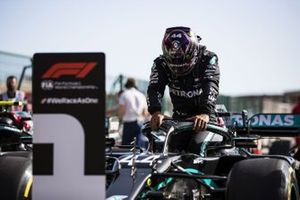Lewis Hamilton, Mercedes-AMG F1, arrives in Parc Ferme after Qualifying