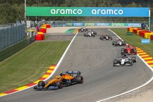 Lando Norris, McLaren MCL35, Daniil Kvyat, AlphaTauri AT01, Sebastian Vettel, Ferrari SF1000, and Antonio Giovinazzi, Alfa Romeo Racing C39