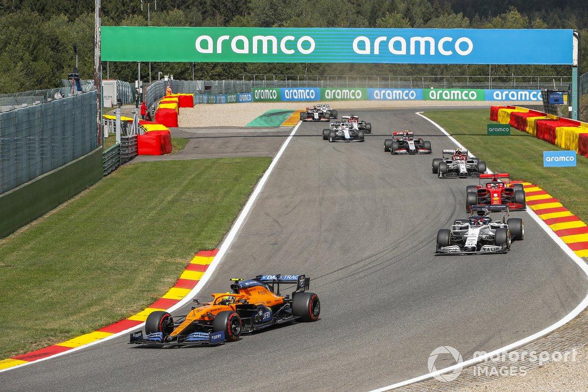 Lando Norris, McLaren MCL35, Daniil Kvyat, AlphaTauri AT01, Sebastian Vettel, Ferrari SF1000, Antonio Giovinazzi, Alfa Romeo Racing C39