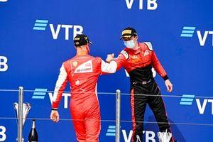 Race Winner Mick Schumacher, Prema Racing and Callum Ilott, UNI-Virtuosi celebrate on the podium