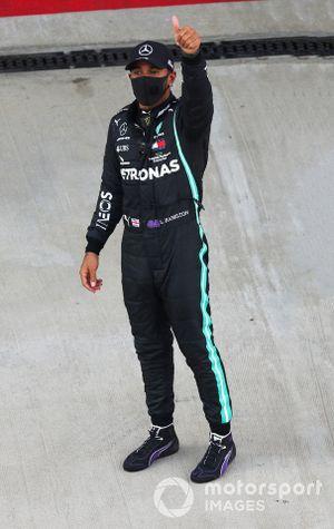 Lewis Hamilton, Mercedes-AMG F1, celebrates pole
