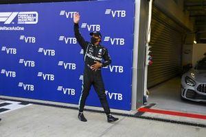 Lewis Hamilton, Mercedes-AMG F1, celebrates after securing pole