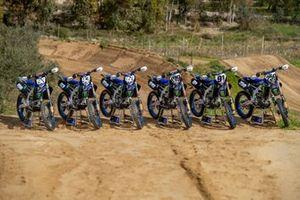 Van links naar rechts: de motoren van Thibault Benistant, Jago Geerts, Maxime Renaux, Ben Watson, Jeremy Seewer en Glenn Coldenhoff, Monster Energy Yamaha Factory Racing