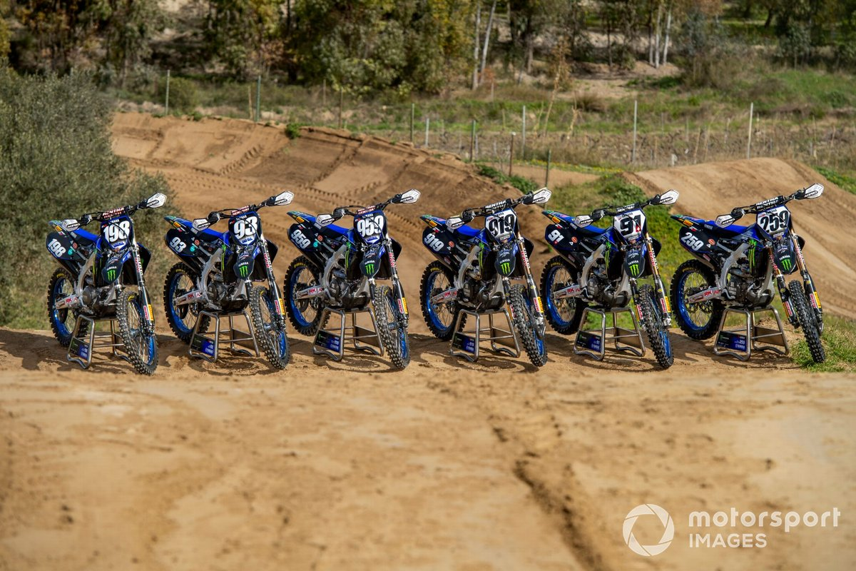 Van links naar rechts: de motoren van Thibault Benistant, Jago Geerts, Maxime Renaux, Ben Watson, Jeremy Seewer en Glenn Coldenhoff, Monster Energy Yamaha Factory Racing