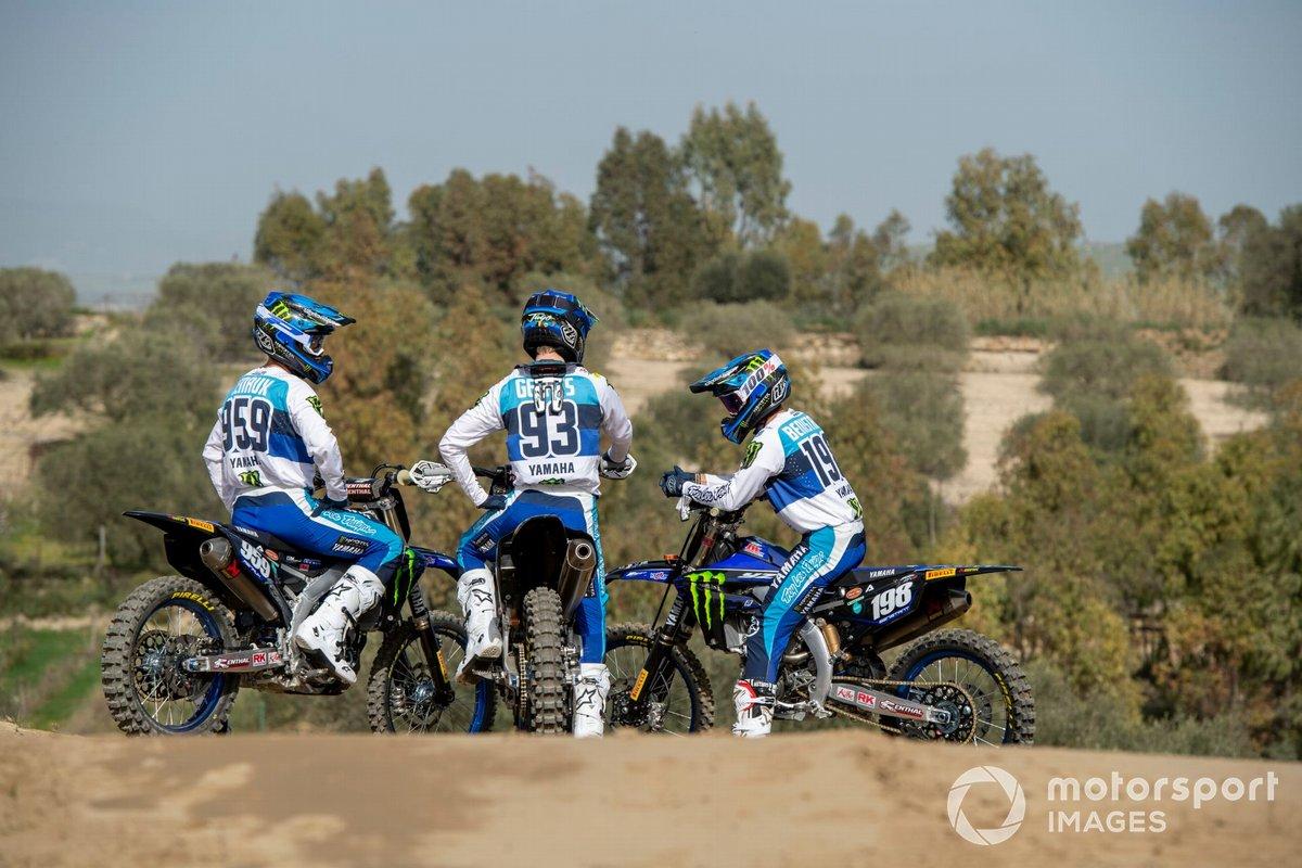 Van links naar rechts: Maxime Renaux, Jago Geerts en Thibault Benistant, Monster Energy Yamaha MX2 Factory Racing