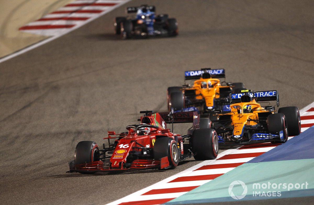 Charles Leclerc, Ferrari SF21, Lando Norris, McLaren MCL35M, Daniel Ricciardo, McLaren MCL35M, Fernando Alonso, Alpine A521