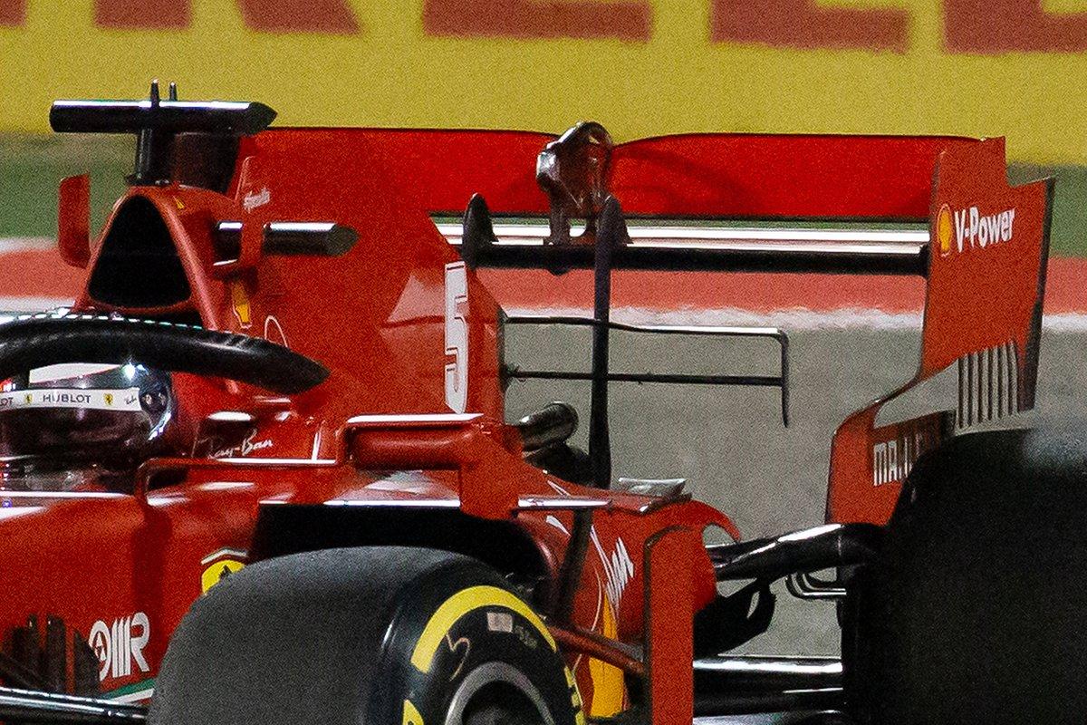 Detalle del alerón trasero de Sebastian Vettel, Ferrari