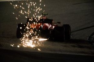 Sparks fly from Charles Leclerc, Ferrari SF1000