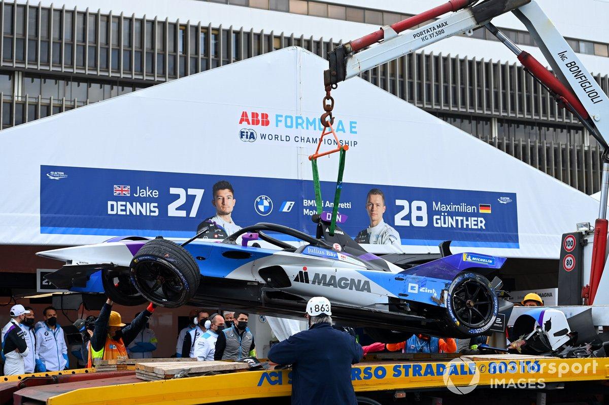 El coche accidentado de Jake Dennis, BMW I Andretti Motorsport, BMW iFE.21