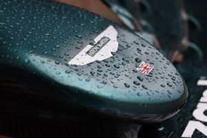 The nose of the Aston Martin AMR21 with rain drops