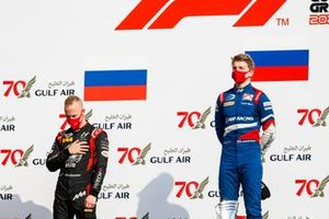Race Winner Robert Shwartzman, Prema Racing and Nikita Mazepin, Hitech Grand Prix on the podium